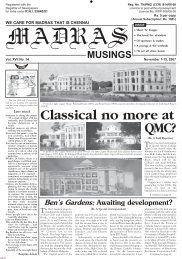 Archive of Vol. XVII No. 14, November 1-15, 2007 - Madras Musings