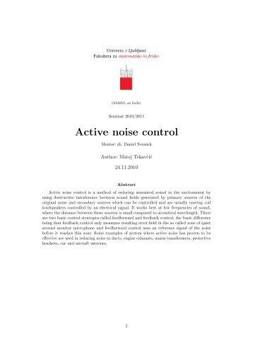 Seminar 2010/2011 Active noise control