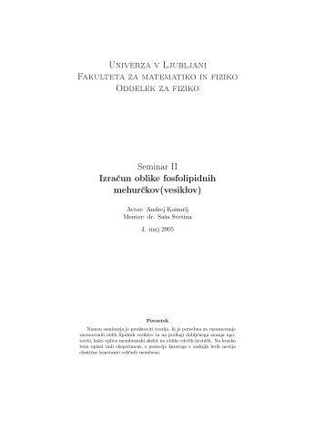 Univerza v Ljubljani Fakulteta za matematiko in fiziko Oddelek za ...