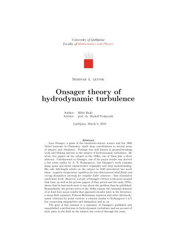Onsager theory of hydrodynamic turbulence