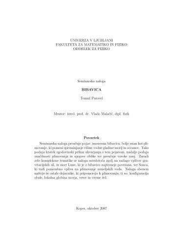 UNIVERZA V LJUBLJANI FAKULTETA ZA MATEMATIKO IN FIZIKO ...