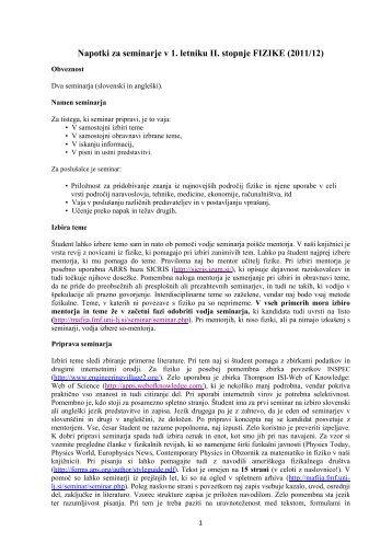 Napotki za seminarje v 1. letniku II. stopnje FIZIKE (2011/12)