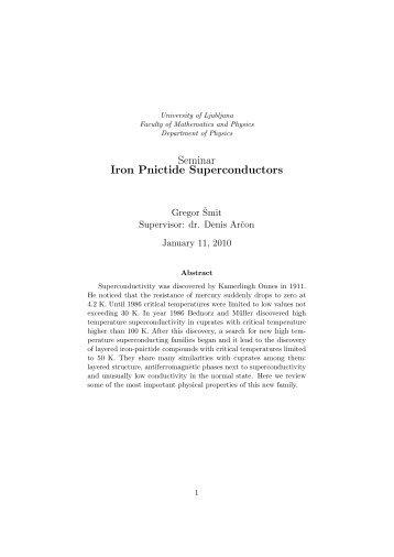 Seminar Iron Pnictide Superconductors