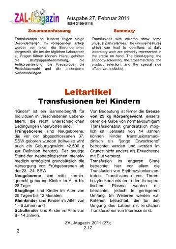 Leitartikel als pdf (mit Quellenangabe und CME ... - ZAL-Magazin