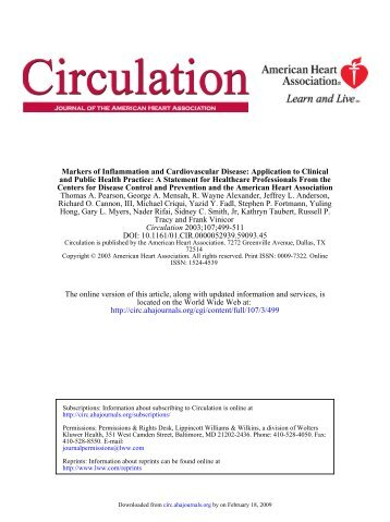 Markers of Inflammation and Cardiovascular Disease Application to ...