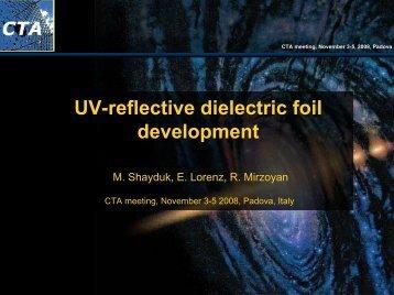 UV-reflective dielectric foil development - MAGIC