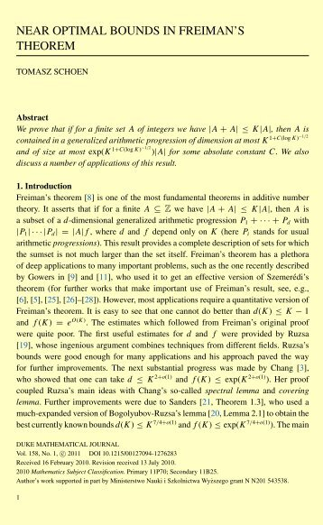 NEAR OPTIMAL BOUNDS IN FREIMAN'S THEOREM