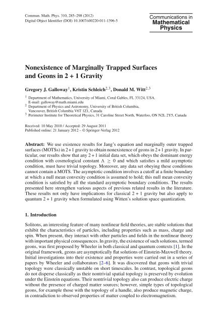 Nonexistence of Marginally Trapped Surfaces and Geons in 2