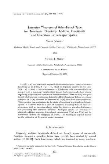 Extension Theorems of Hahn-Banach Type for Nonlinear Disjointly ...
