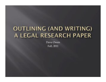 Outlining a Legal Research Paper