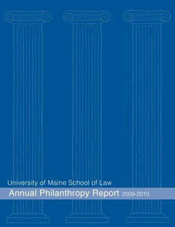 annual Philanthropy report 2009-2010 - University of Maine School ...
