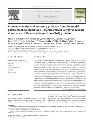 Proteomic analysis of secretory products from the model ...