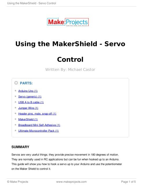 Using the MakerShield - Servo Control