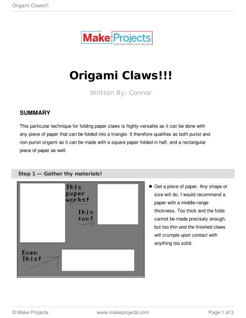Origami Claws : 11 Steps - Instructables | 640x495