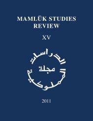 Mamluk Studies Review XV (2011)