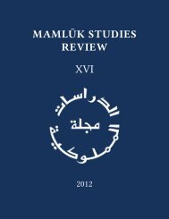 Vol. XVI (2012) - Mamluk Studies Review - University of Chicago