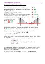 3. Quadratische Funktionen und Gleichungen - Mamtmann.de