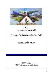 Stratejik Plan - Manisa Milli Eğitim Müdürlüğü - Milli Eğitim Bakanlığı