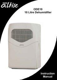 ODE10 10 Litre Dehumidifier Instruction Manual - Appliances Online