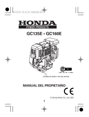 manual del propietario gc135e ? gc160e
