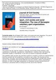 Sport, civil society and social integration: The case of ... - Viken Fiber