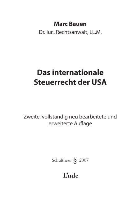 Das internationale Steuerrecht der USA - marc bauen