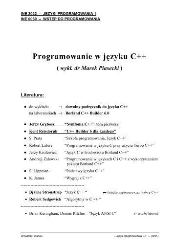 Programowanie w języku C++ - Marek Piasecki