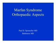 Marfan Syndrome Orthopaedic Aspects