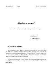 """Sieci neuronowe"" - Marek Piasecki"