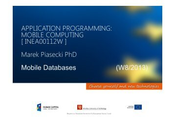 MOBILE COMPUTING [ INEA00112W ] - Marek Piasecki