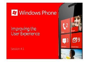 Windows Phone - Improving the User Experience - Marek Piasecki