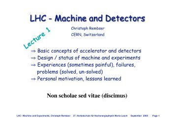 LHC - Machine and Detectors - Herbstschule Maria Laach