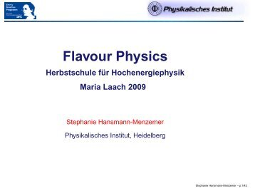 Flavour Physics - Herbstschule Maria Laach