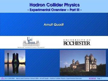 Hadron Collider Physics - Herbstschule Maria Laach