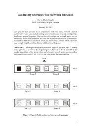 Laboratory Exercises VI: Network Firewalls