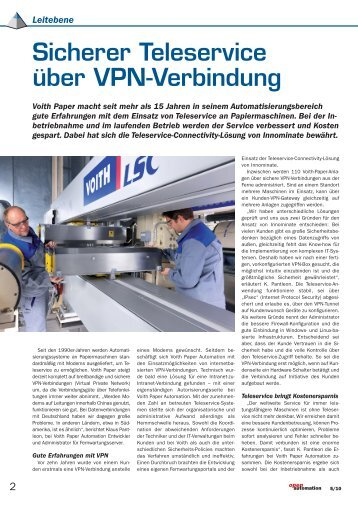 Sicherer Teleservice über VPN-Verbindung bei Voith Paper (259 KB)
