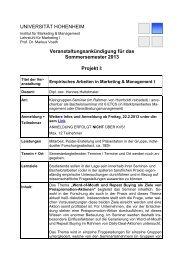 Projekt II - Lehrstuhl für Marketing I - Universität Hohenheim