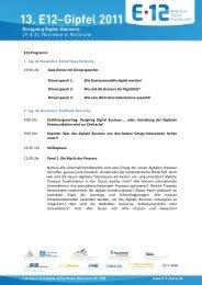 E12-Gipfelprogramm 2011 - Marketing - Club Karlsruhe