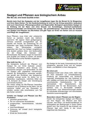 Saatgut und Pflanzen aus biologischem Anbau - marktcheck.at