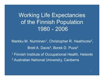 International Statistical Institute 2005 Session Presentation, Sydney