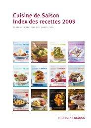 Cuisine de Saison Index des recettes 2009
