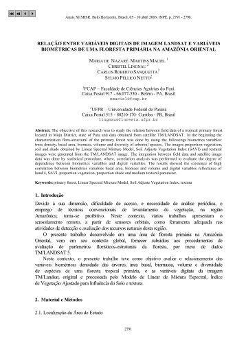 RELAÇÃO ENTRE VARIÁVEIS DIGITAIS DE IMAGEM LANDSAT E ...