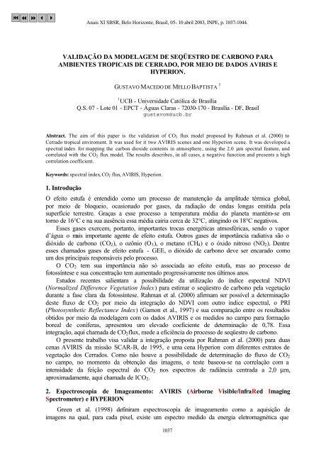 VALIDAÇÃO DA MODELAGEM DE SEQÜESTRO DE CARBONO ...