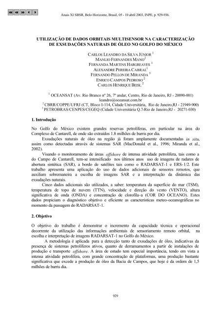 UTILIZAÇÃO DE DADOS ORBITAIS MULTISENSOR NA ...