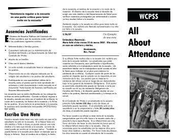 WCPSS All About Attendance - Wake County Public School System