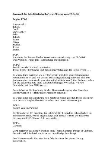 FFSR_Protokoll_2008-04-22 - Fachschaft Maschinenbau der ...