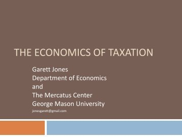 economics of taxation - George Mason University