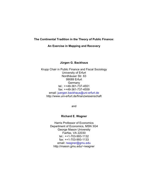 Recovering a Continental Tradition in the Theory of Public Finance