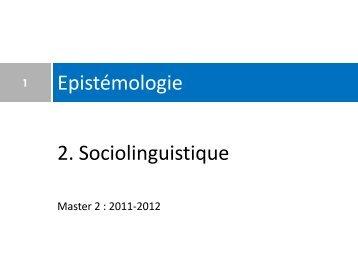 2. Sociolinguistique Epistémologie - masterfle