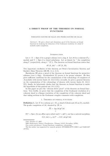 A DIRECT PROOF OF THE THEOREM ON FORMAL FUNCTIONS ...